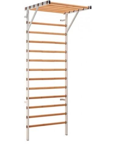 Espalier cadre acier 14 barreaux hêtre avec avancée 1 m